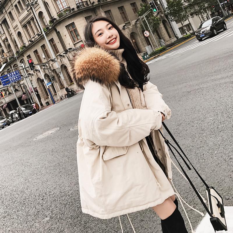 短款棉衣毛领韩国