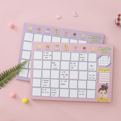 韩国文具可爱棒棒女孩桌面日程计划本月A4效率手册计划本超厚60页