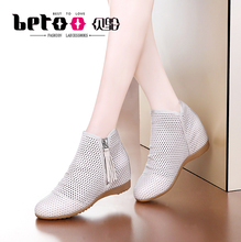Ostrich flat-soled hollow-out women's shoes, leather single shoes, breathable mesh shoes, summer high casual shoes, soft sole, round head and high upper shoes