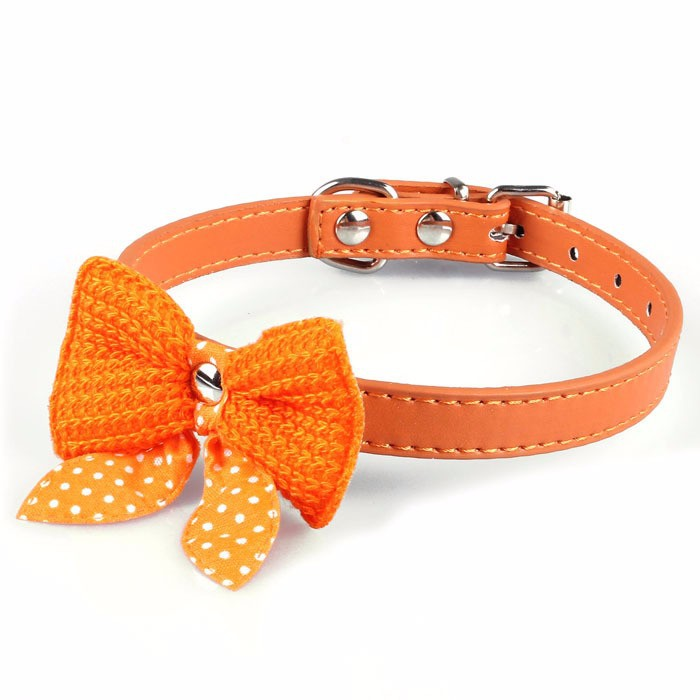 1Pc PU Leather Pet Collars Necklace Knitted Bowknot Dog Pupp