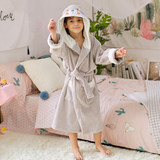 Cotton cotton bathrobe towel material boys and girls quick-drying long bathrobe baby cartoon water absorption seasons hooded robe