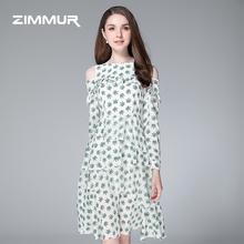 时髦轻熟繁复通勤碎花荷叶边露肩印花雪纺女款 ZIMMUR19新款 连衣裙