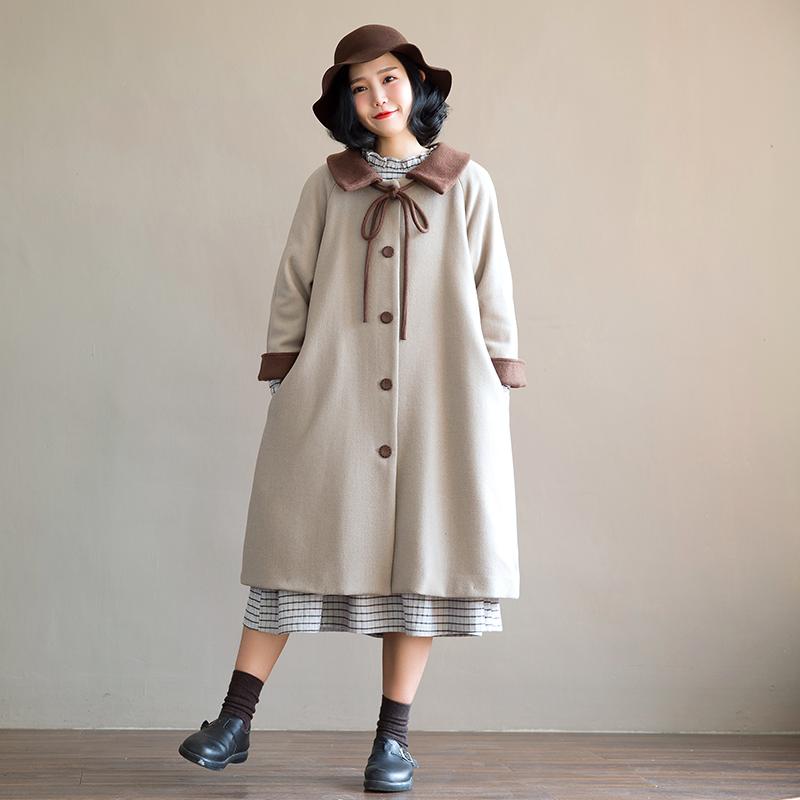 素旧安歌廓形加厚呢外套2019冬装复古森系宽松娃娃领毛呢大衣女