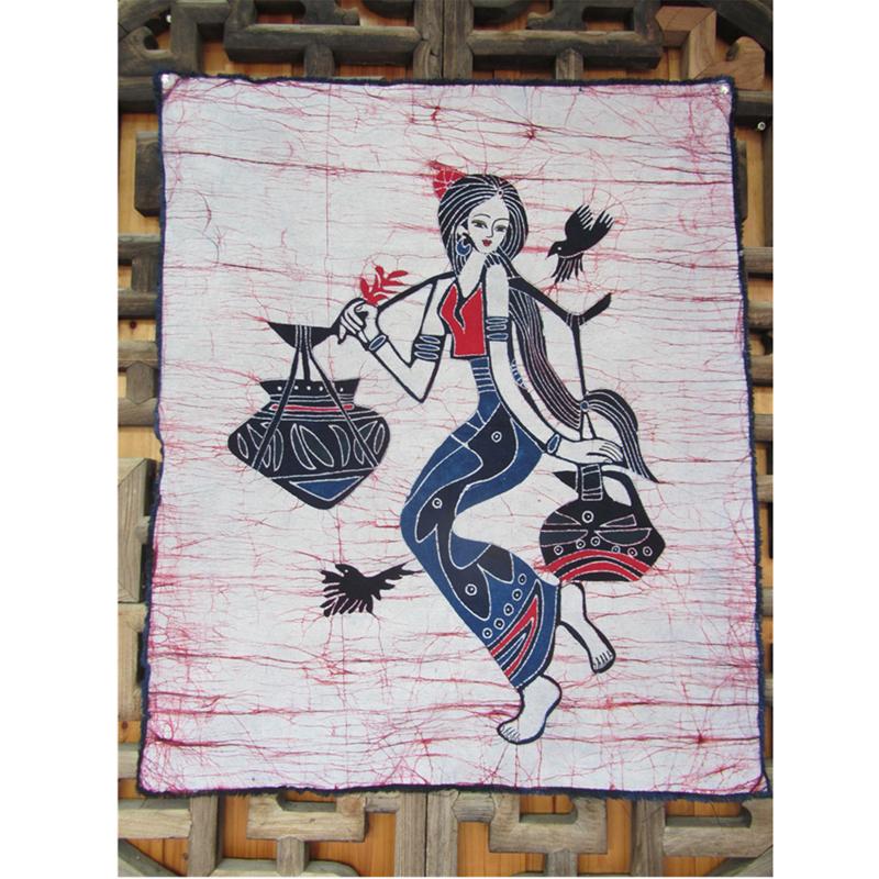 手绘蜡染画壁挂居家餐厅扎染背景布