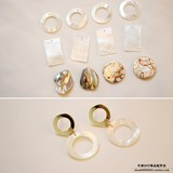 high quality natural sea shell cotton shell square hollow round round gold DIY Korean version of minimalist earrings Handmade