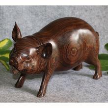 ㊣善藏木艺 缅甸紫檀 樱代木 木雕摆件 富贵猪 十二生肖大肥猪