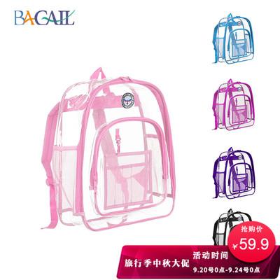 Bagail美国透明双肩包果冻包防水包旅行书包海边背包游泳包沙滩包
