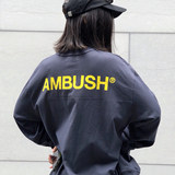 AMBUSH correct version of the new 3 color long-sleeved short-sleeved T-shirt back logo printing round neck cotton men and women couple models