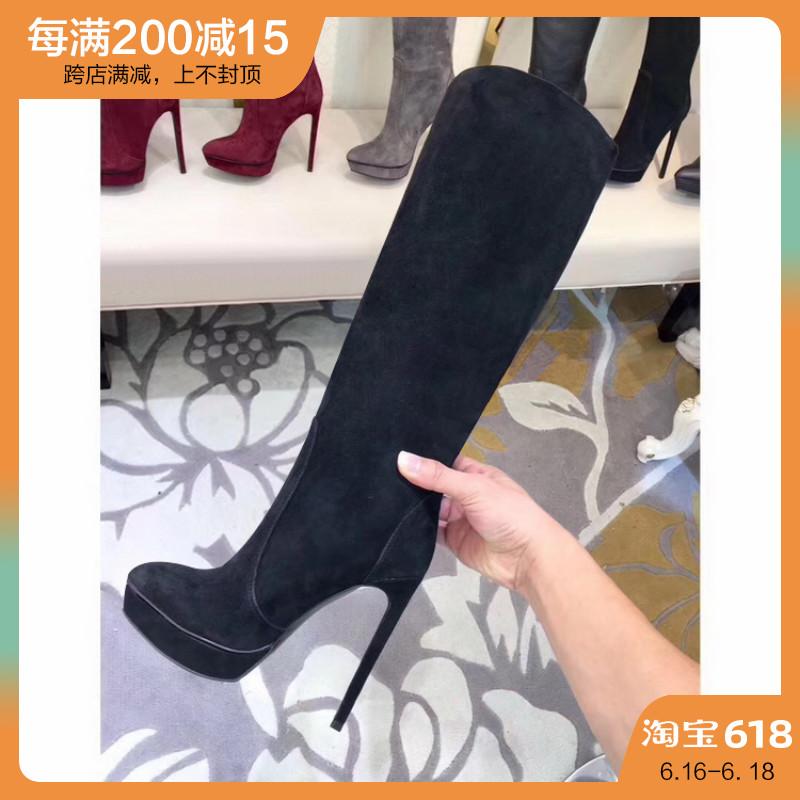 秋冬季女靴性感包腿显瘦长筒靴尖头细跟高筒靴百搭不过膝长靴女潮