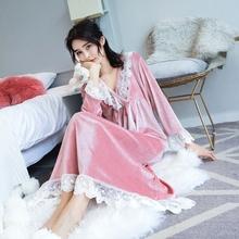 睡裙女韩版春秋冬季金丝绒复古宫廷睡裙蕾丝长款珊瑚绒可爱睡衣图片