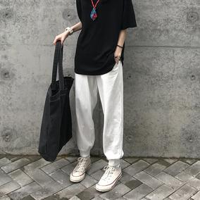 Seven4lee一对快乐の奶白色筷子 白色运动裤子女宽松高腰休闲裤潮