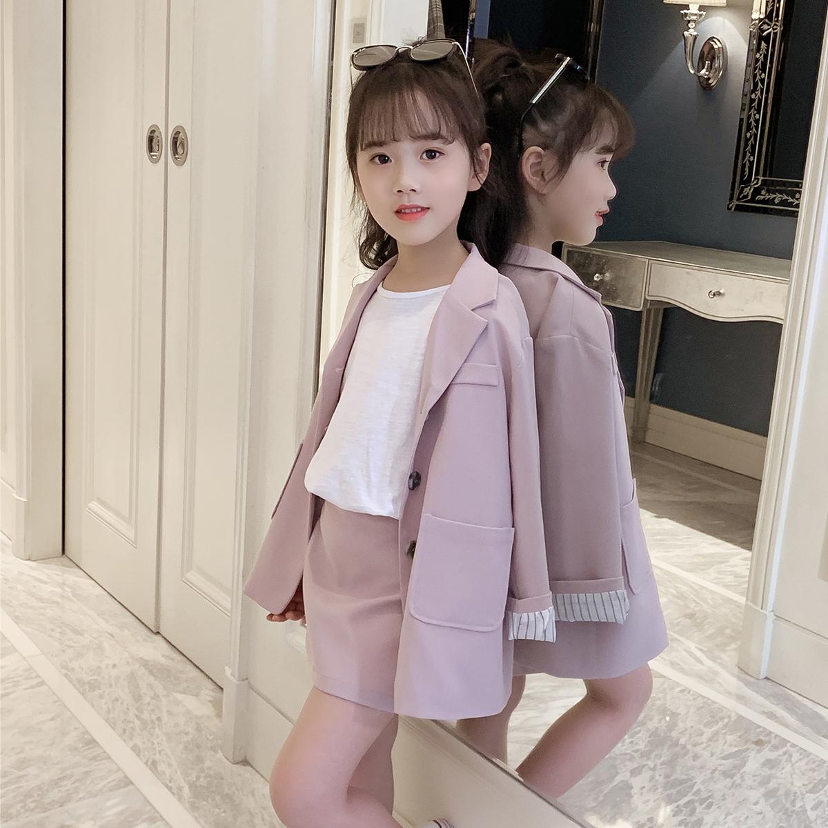 女童春装2019春季新款套装洋气西装外套条纹中大童半身裙两件套