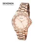 SEKONDA女士时尚手表亚光玫瑰金色石镶表盘镀玫瑰金表链手表4253