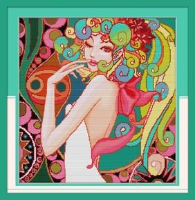 美女的诱惑简单十字绣欧式风格人物系列新款线绣家用客厅立体刺绣