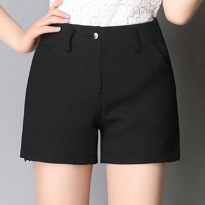 短裤女夏新款大码高腰西装裤显瘦直筒裤提花热裤子休闲裤黑色女裤