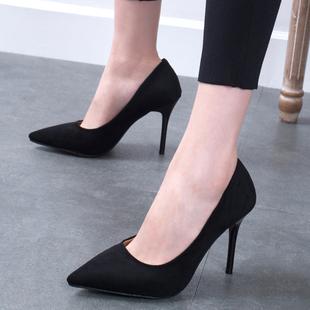 2018春季新款少女高跟鞋细跟女鞋尖头黑色百搭礼仪职业单鞋婚鞋秋