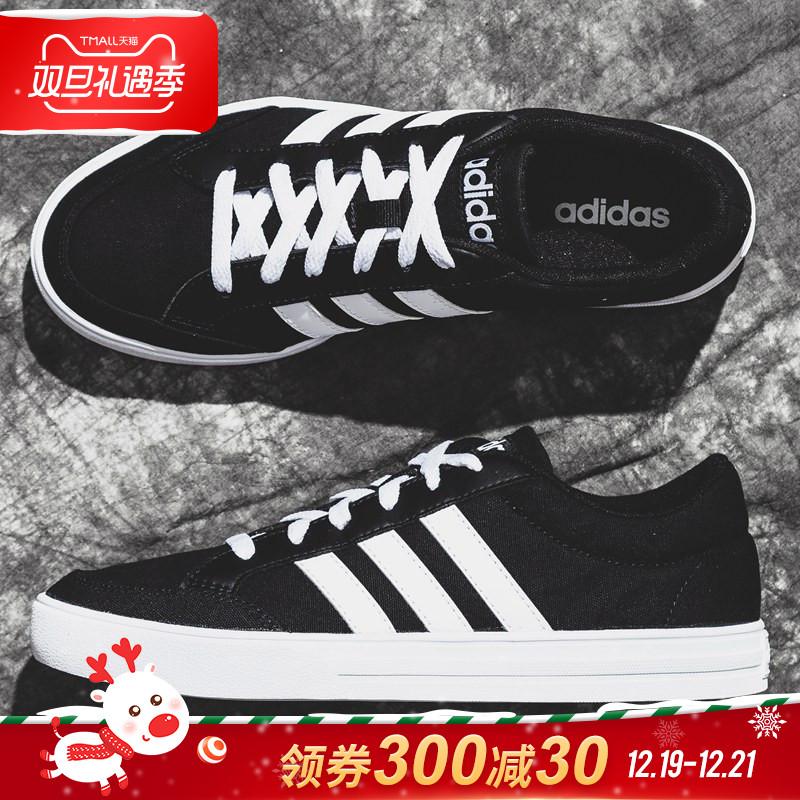 阿迪达斯男鞋板鞋男 2019新鞋秋冬正品NEO运动鞋子帆布鞋休闲鞋男