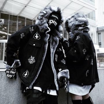 dqu狐狸毛领超大帽子手绘玫瑰破坏牛仔雕男女情侣加绒外套冬MAMC