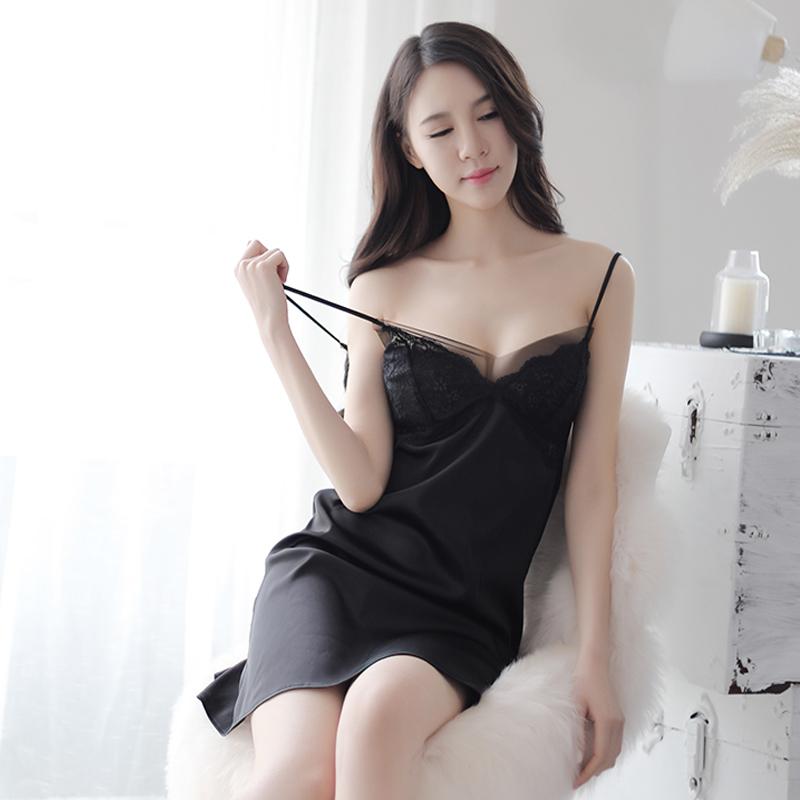 性感睡衣女夏情调衣人火辣短情趣午夜魅力可外穿带胸垫黑吊带睡裙