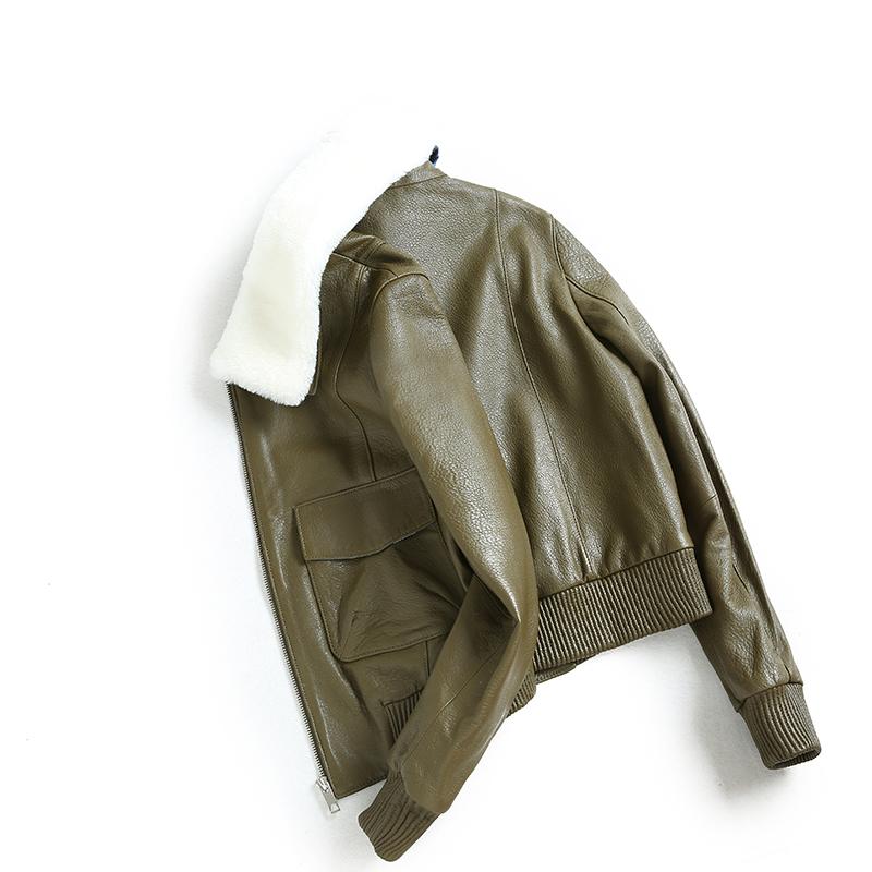 曲芭藜2019春季羊羔毛领海宁机车真皮皮衣女短款绵羊皮夹克外套