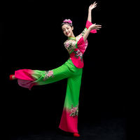 Yangge clothing costumes 2019 new middle-aged classical dance costumes women's elegant square fan set adult