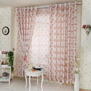 田园风双面提花窗帘定制客厅卧室加厚半遮光涤棉布料成品窗帘