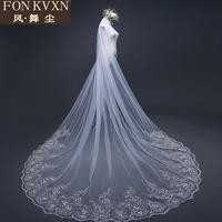 新款空气感加蓬头纱香槟色白色短款新娘婚纱头纱双层无发梳可遮面
