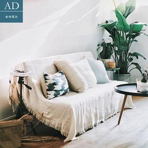 民族纯色素雅米白色全盖沙发巾套复古小清新经典北欧罩布盖布清洗