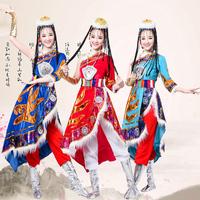 新款女藏族舞蹈演出服装成人广场舞衣服藏袍少数民族舞台表演服饰