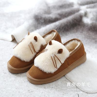 外穿澳洲皮毛一体全包跟冬季棉拖鞋保暖女羊毛室内居家真皮加厚底