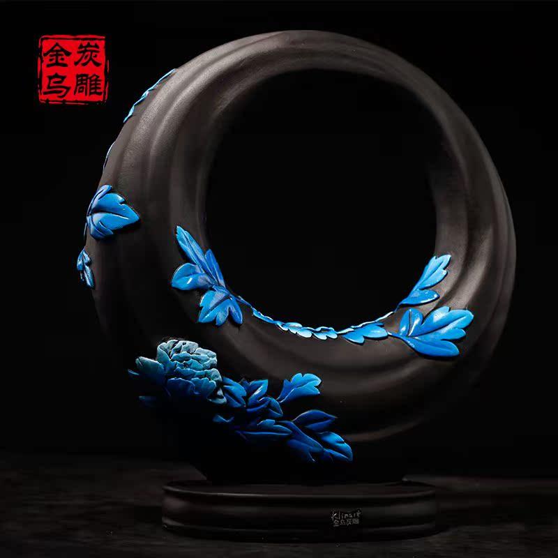 金乌活炭雕中式工居装饰品电视柜摆件创意花好月圆立体雕刻