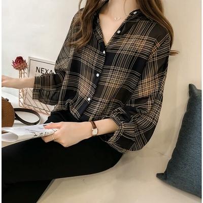 2018秋装新款韩版大码宽松灯笼袖格子衬衫上衣女胖mm显瘦雪纺衬衣