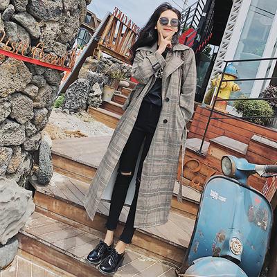 超长风衣女到脚踝2018秋季新款百搭学生格子女士休闲韩版长款外套