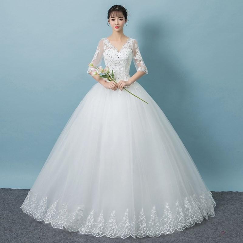 2018新款春夏季简约婚纱礼服新娘结婚齐地小个子婚纱显高 150cm