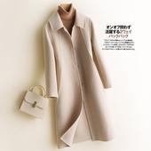 领呢子 反季清仓纯羊毛呢纯色外套双面呢大衣女中长款 羊绒西装图片