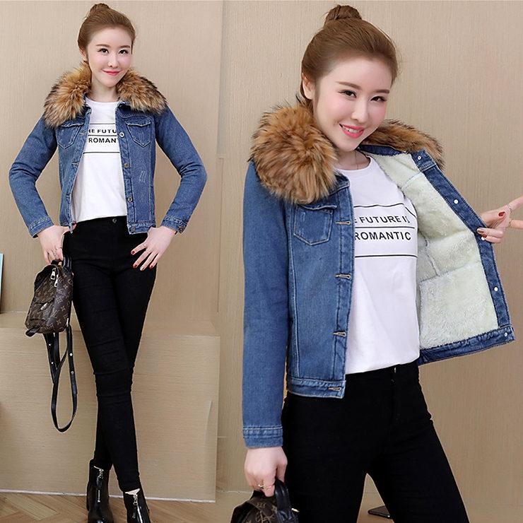 冬季新款女装修身加绒加厚可拆卸大毛领牛仔长袖保暖上衣外套图片