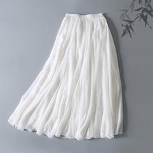 中国风禅茶服半身裙真丝雪纺仙女白色三层大摆裙飘逸长裙 2017新款