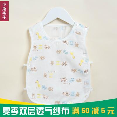 夏季婴儿纯棉背心琵琶衫男女宝宝超薄纱布背心儿童上衣背心衫衣服