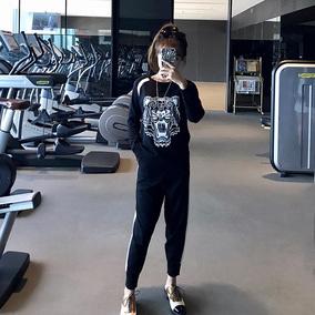 胖mm秋装新款2018大码女装运动套装洋气减龄显瘦卫衣两件套200斤