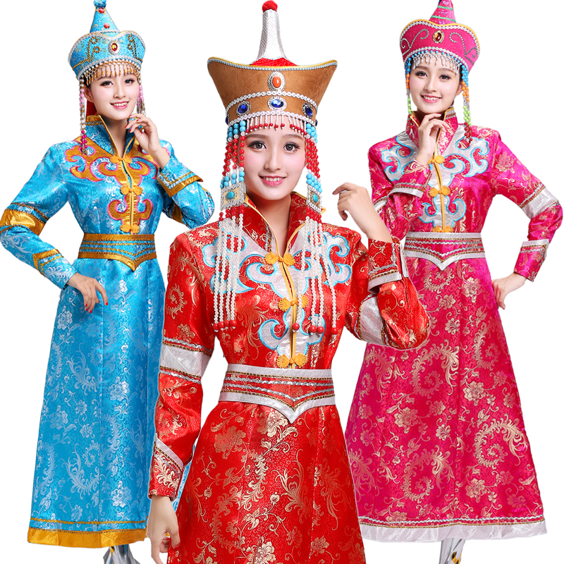 Ms Mongolian gown Mongolian dance costumes Minority clothing female