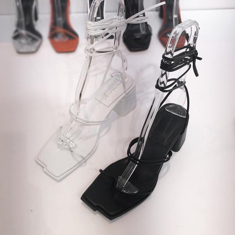 韩国东大门2019夏季新款不规则方头夹趾高跟粗跟脚踝绑带罗马凉鞋