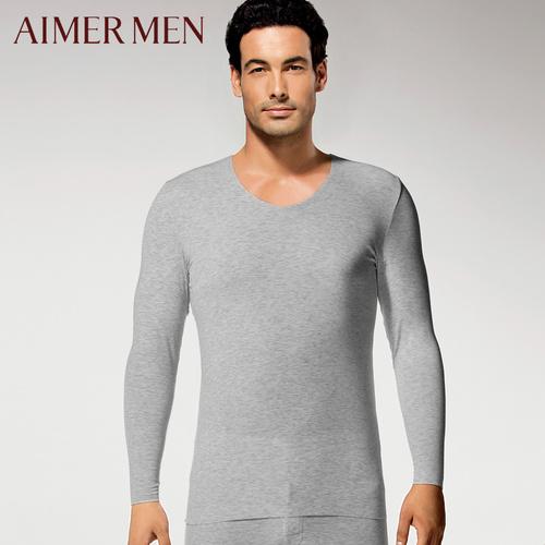 爱慕男士无痕薄款长袖上衣纯色V领单层保暖内衣男72I81