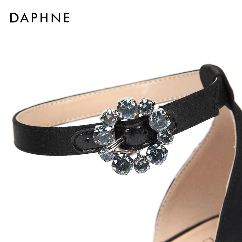 夏季新款一字带高跟鞋细跟纯色通勤时尚凉鞋女 2018 达芙妮 Daphne
