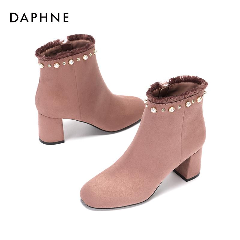 冬新款钻饰珍珠潮流时装靴低筒粗跟潮流短靴女 2017 达芙妮 Daphne