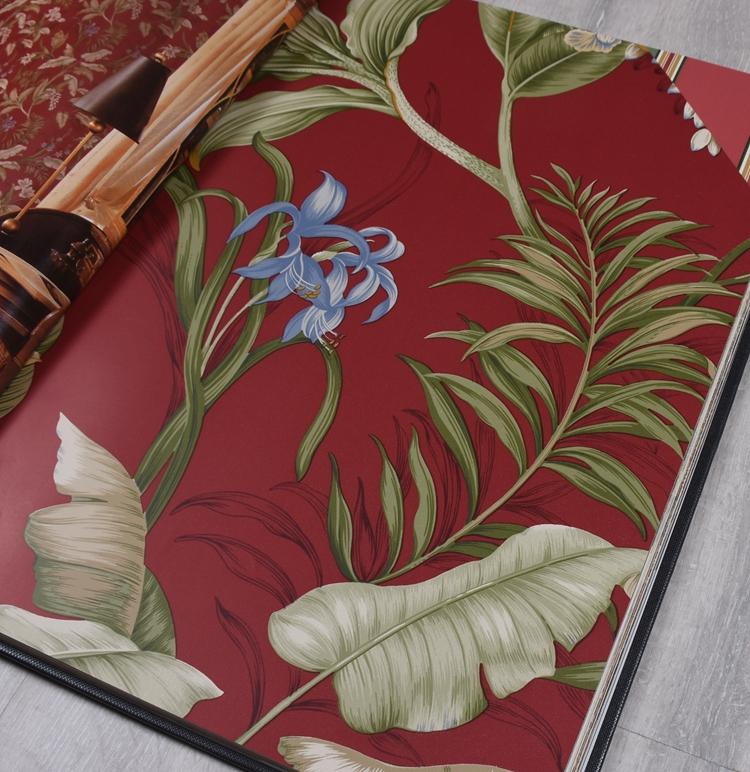 加拿大进口暗红色大花东南亚大花电视沙发背景墙环保纯纸壁纸