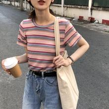 乌77 拼色横条纹针织衫 减龄修身显瘦套头圆领短款上衣春2019韩版
