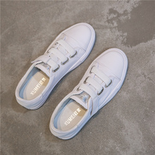 Little White Shoes Female Spring and Summer Shallow Korean Version Baitao Basic Leather Magic Stick Tight Lazy Shoes Net Red Student Board Shoes