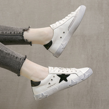 Small White Shoes Female 2019 Korean Version Baitao Dirty Shoes Female Ugly Shoes Genuine Leather Lace Flat Bottom Baitao Board Shoes Retro-archaic