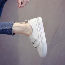 Small White Shoes Female Korean Version New Baitao Basic Magic Sticking Thick-soled Leather Leisure Student Shoes Breathing Street White Shoes
