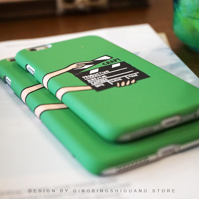 原创个性5S文艺iphone6/7创意苹果6S绿色7plus手机壳半包SE硬磨砂5元优惠券